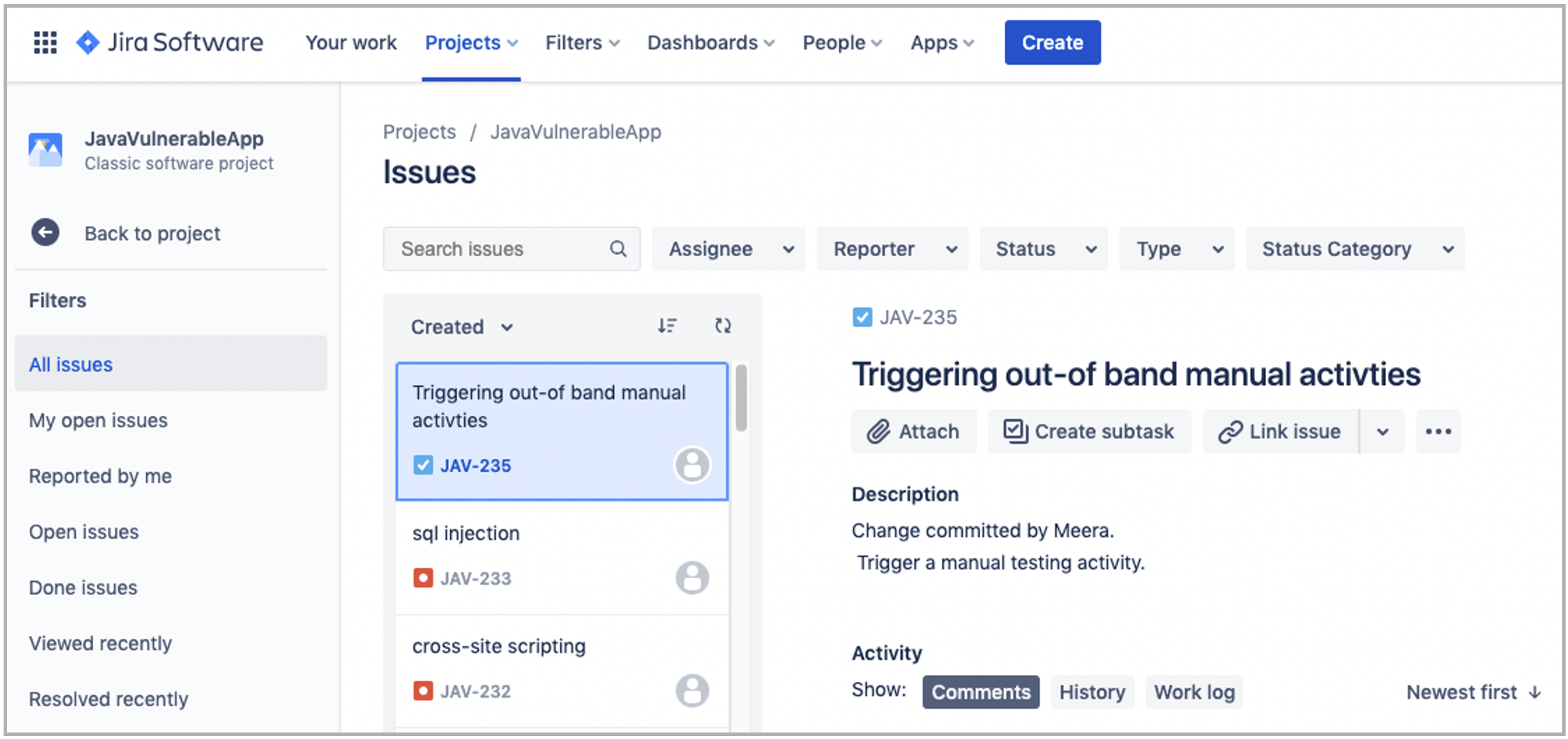 Jira used to add tickets for security issues and manual activities   Synopsys