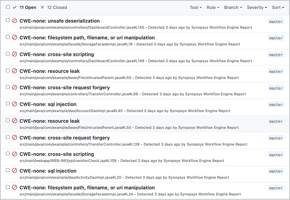 Code scanning alerts in GitHub Actions lists 11 issues   Synopsys