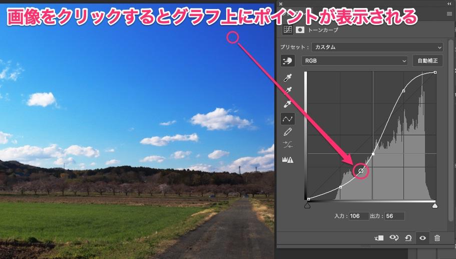 画像をクリックするとグラフ上にポイントが表示される