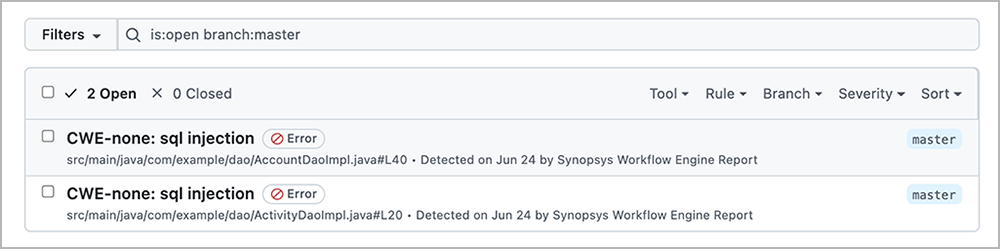Code scanning alerts in GitHub Actions   Synopsys
